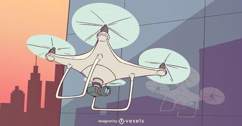 Diseño de ilustración de aviones no tripulados Quadcopter