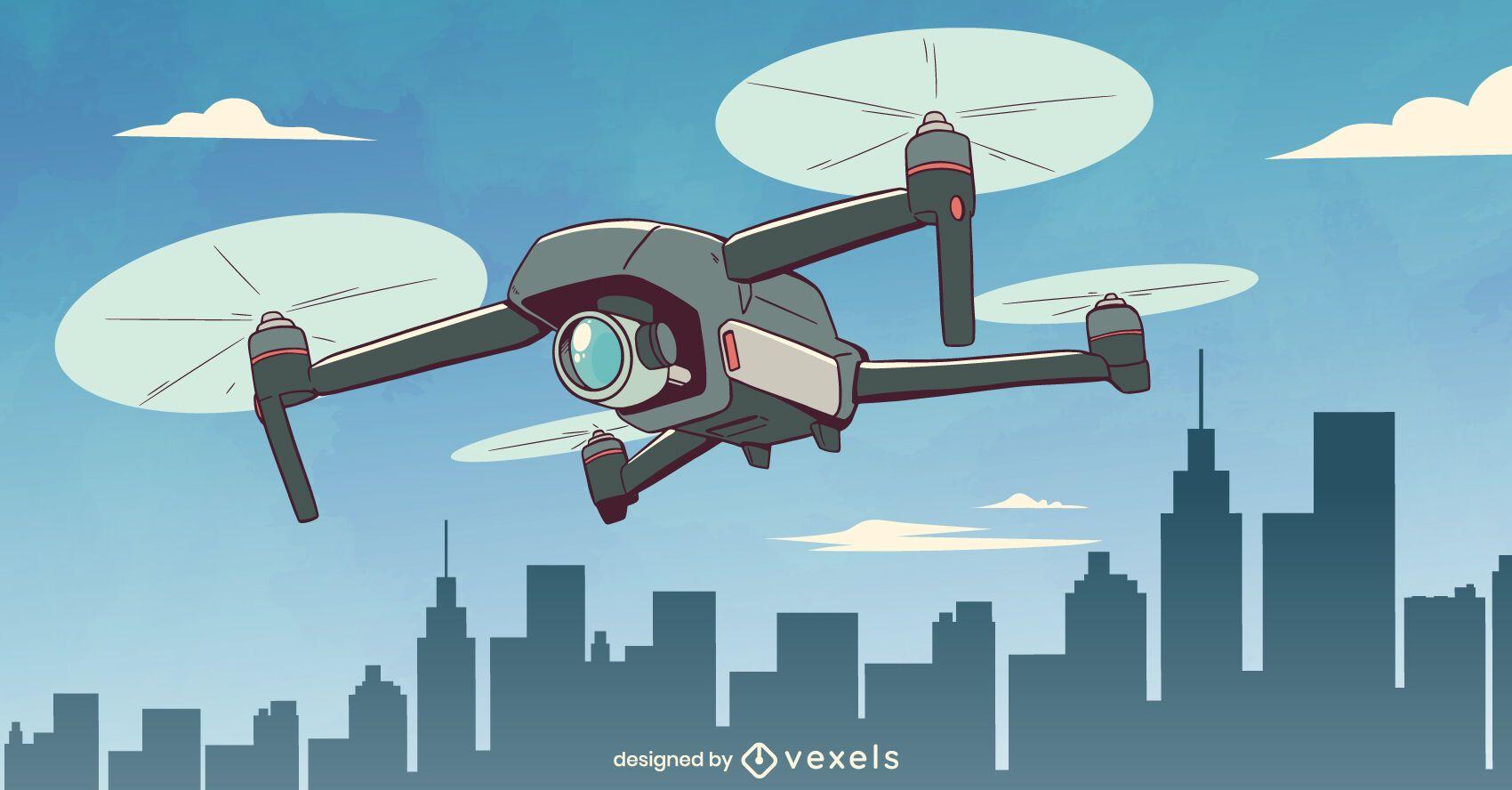 Diseño de ilustración de drone de vigilancia