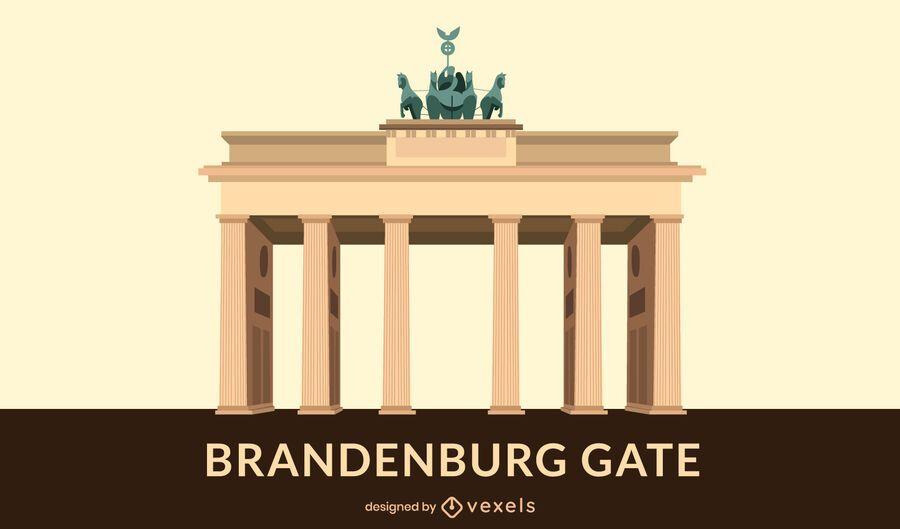 Diseño plano de la puerta de Brandenburgo