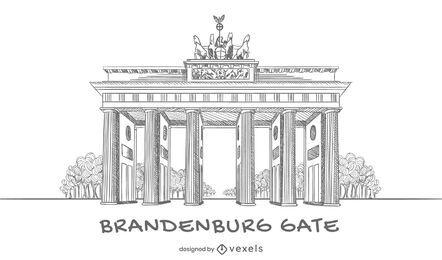 Design de portão de Brandemburgo desenhado à mão