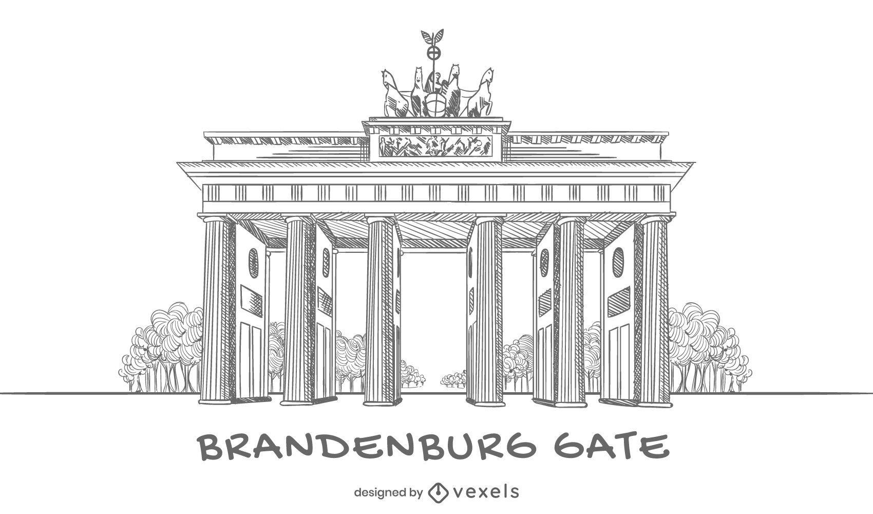 Diseño de puerta de Brandenburgo dibujado a mano