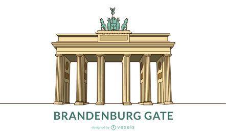 Diseño coloreado de la puerta de Brandenburgo