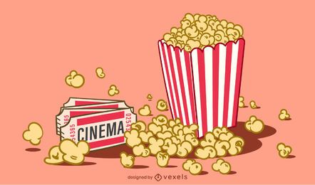 Pop Corn Illustration Design