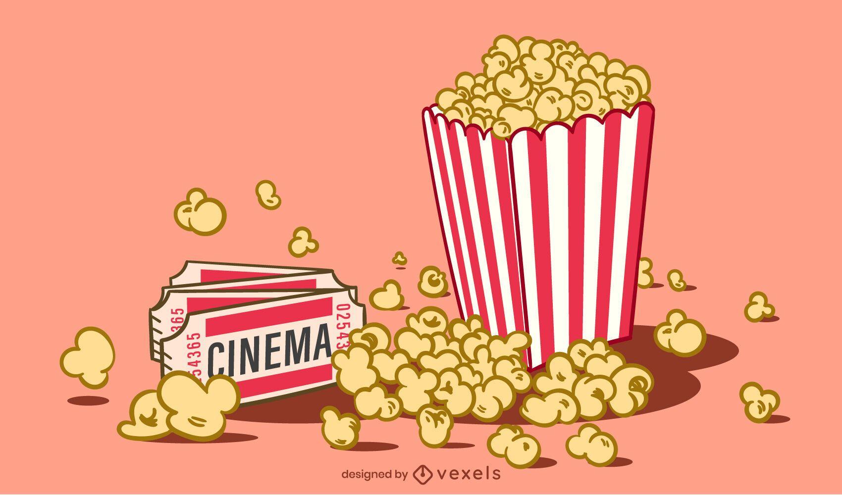 Pop Corn Illustration Design