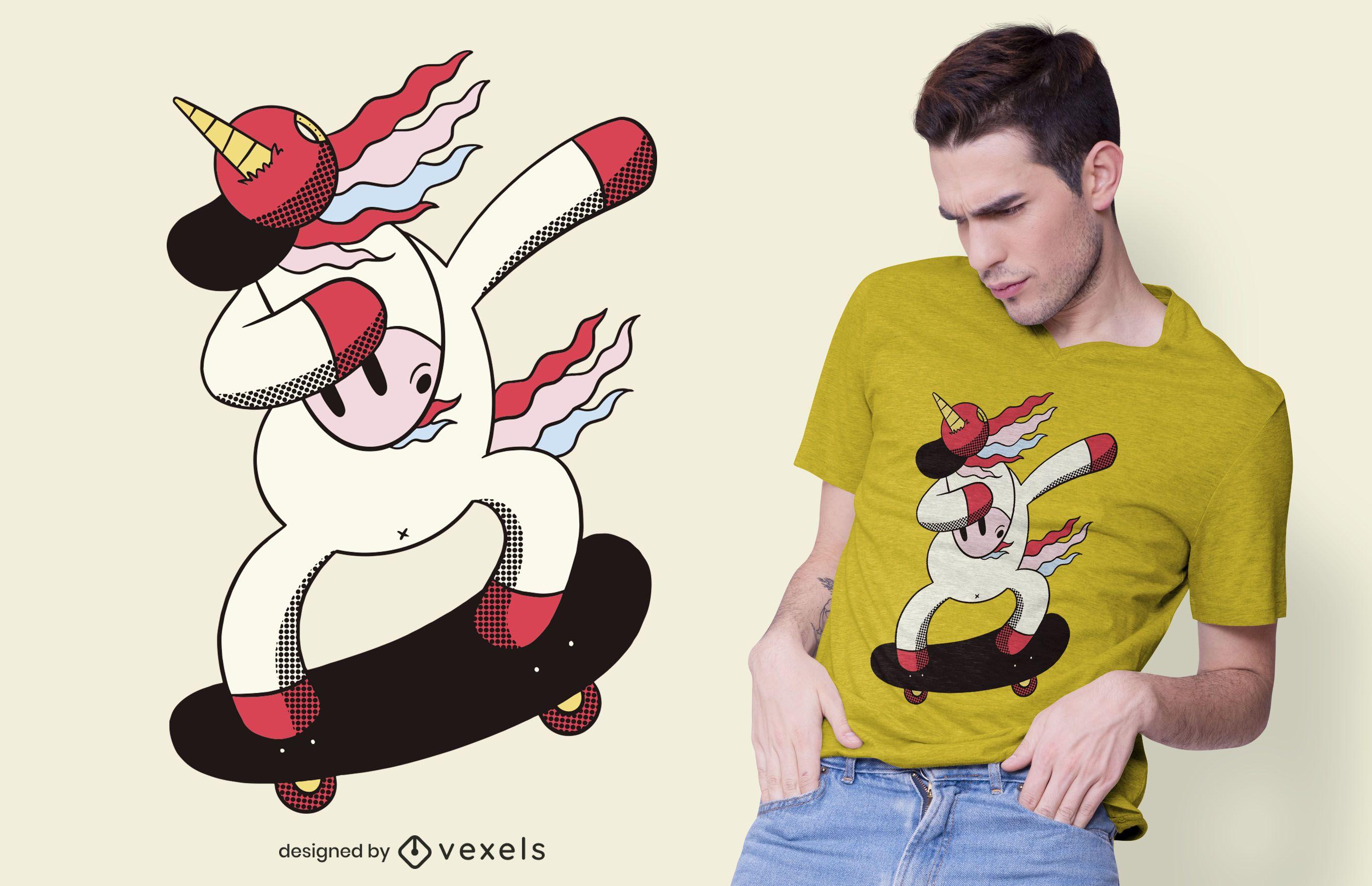 Diseño de camiseta Dabbing Unicorn Skater
