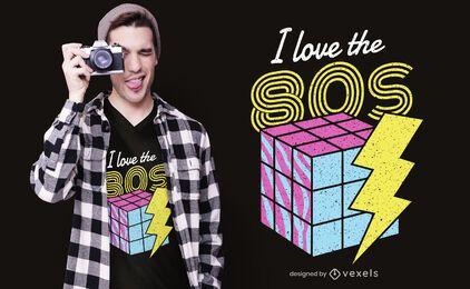 Eu amo o design de camisetas dos anos 80