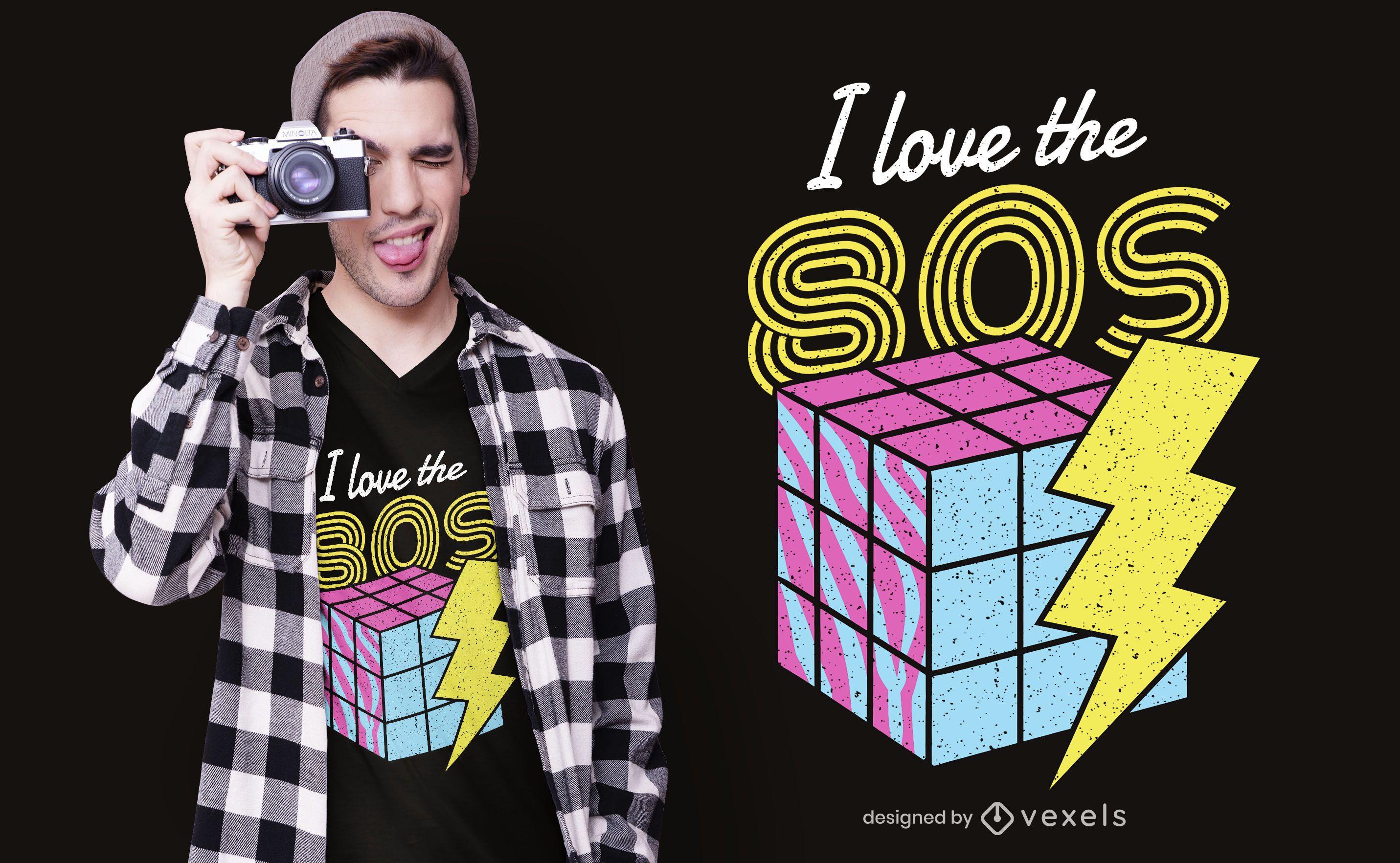 Amo el diseño de camiseta de los 80