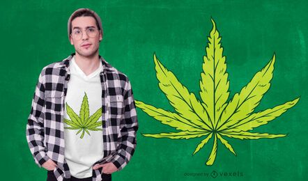 Hemp Leaf Illustration T-shirt Design