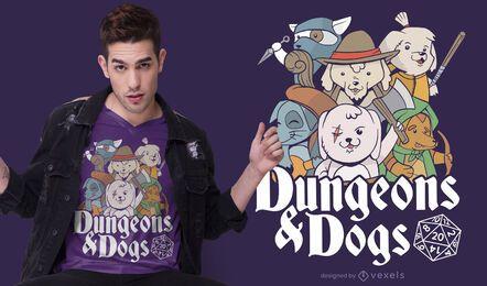 Design de t-shirt de cães de calabouço