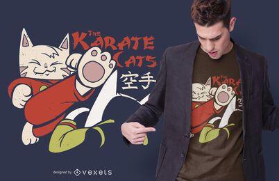 Design de t-shirt de gatos de karatê