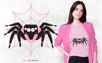 Diseño de camiseta de araña rosada negra