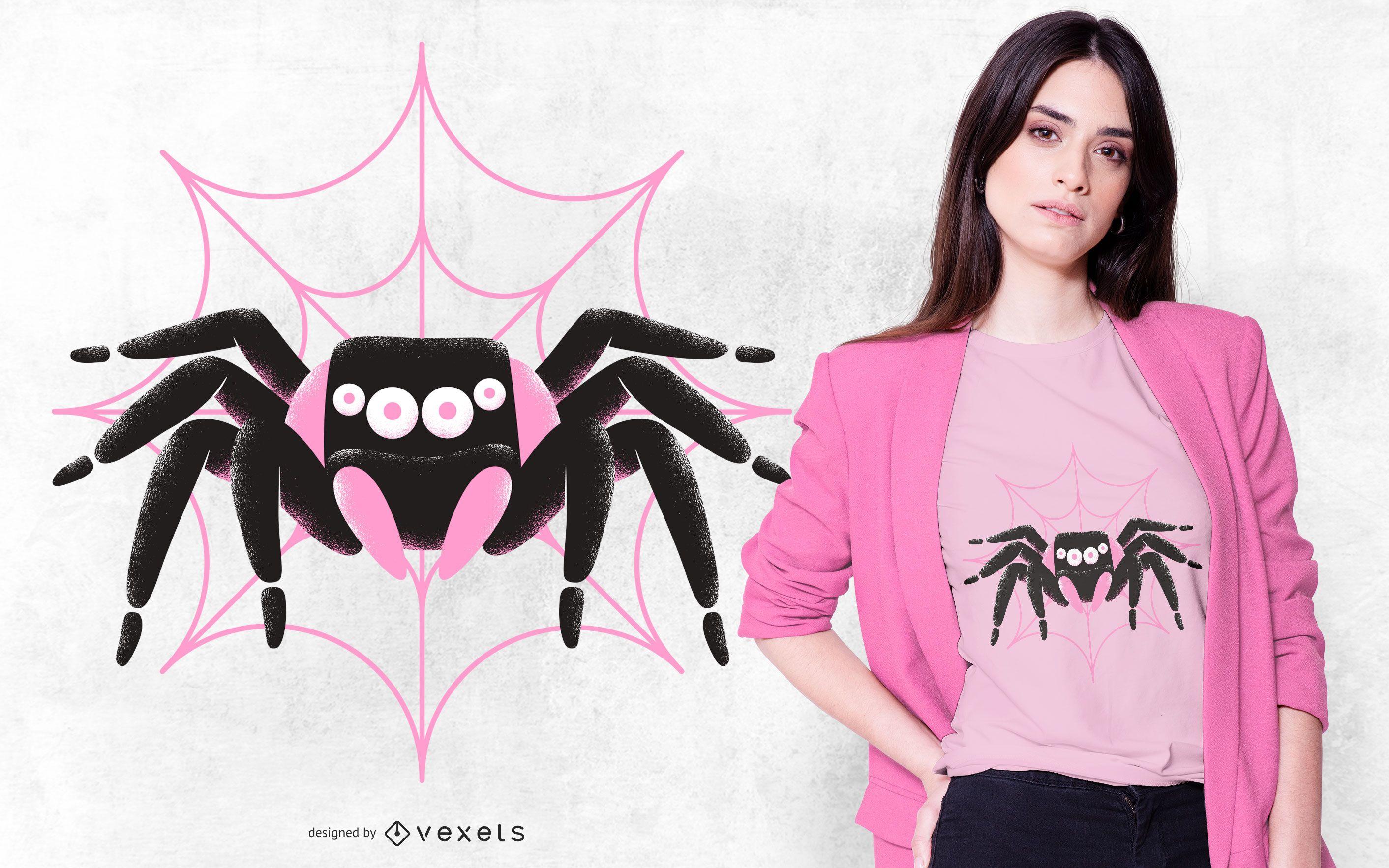 Black Pink Spider T-shirt Design