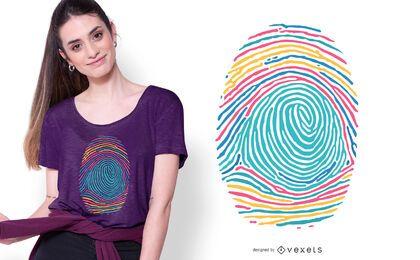 Diseño de camiseta colorida de huellas dactilares