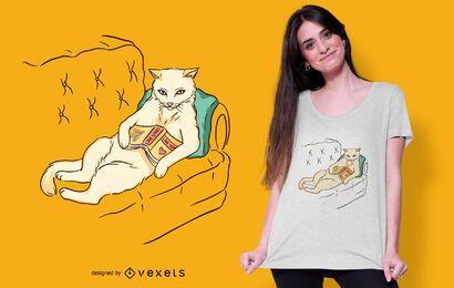 Design frio do t-shirt do gato