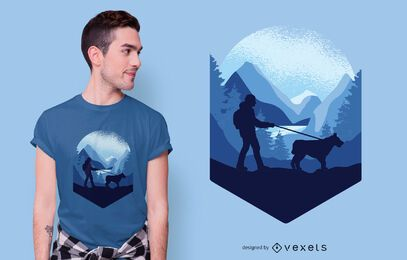 Dog Trekking T-shirt Design