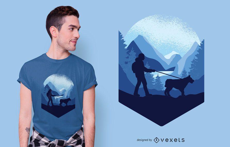 Dog Trekking T-shirt Design
