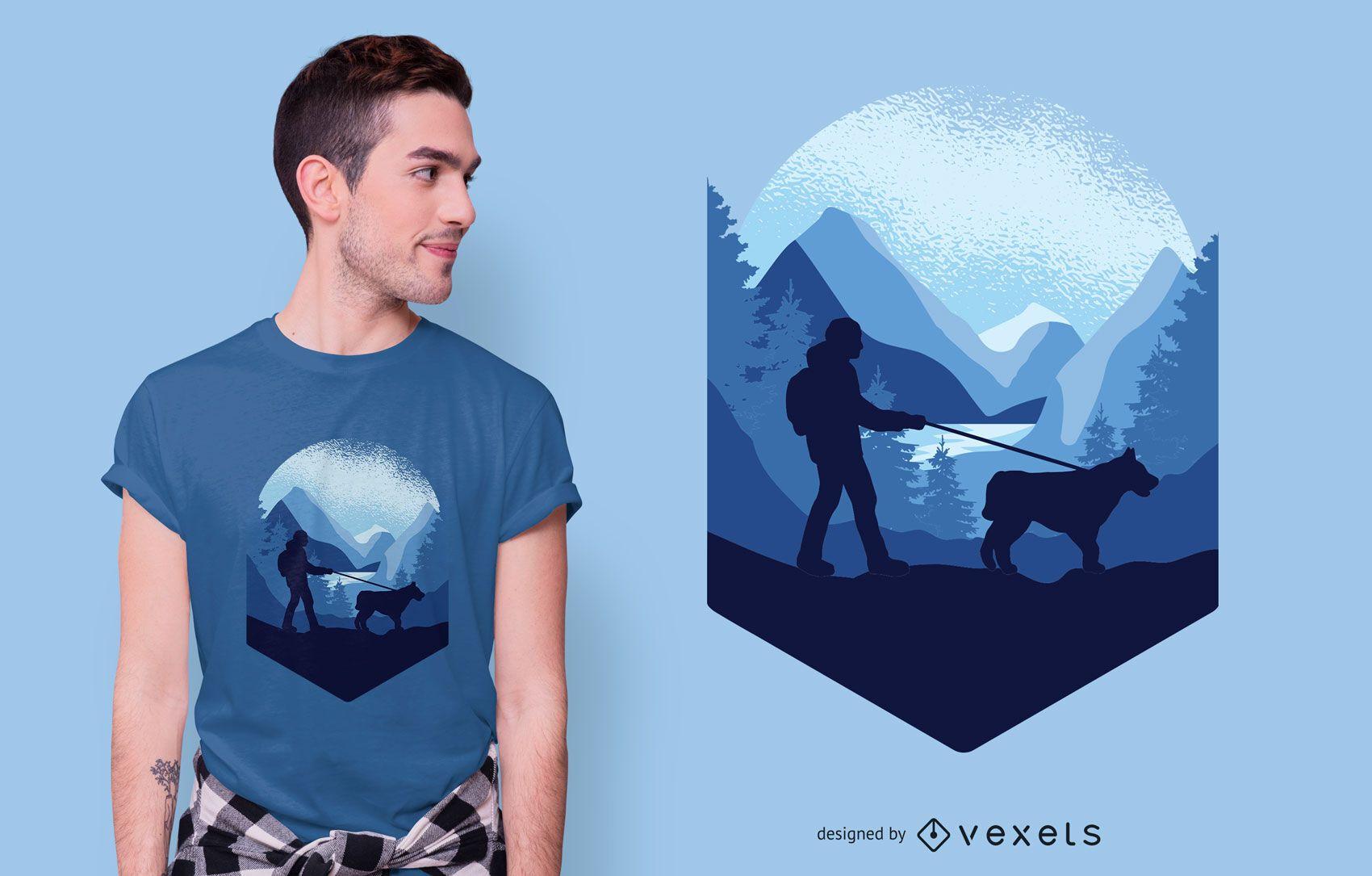 Diseño de camiseta Dog Trekking