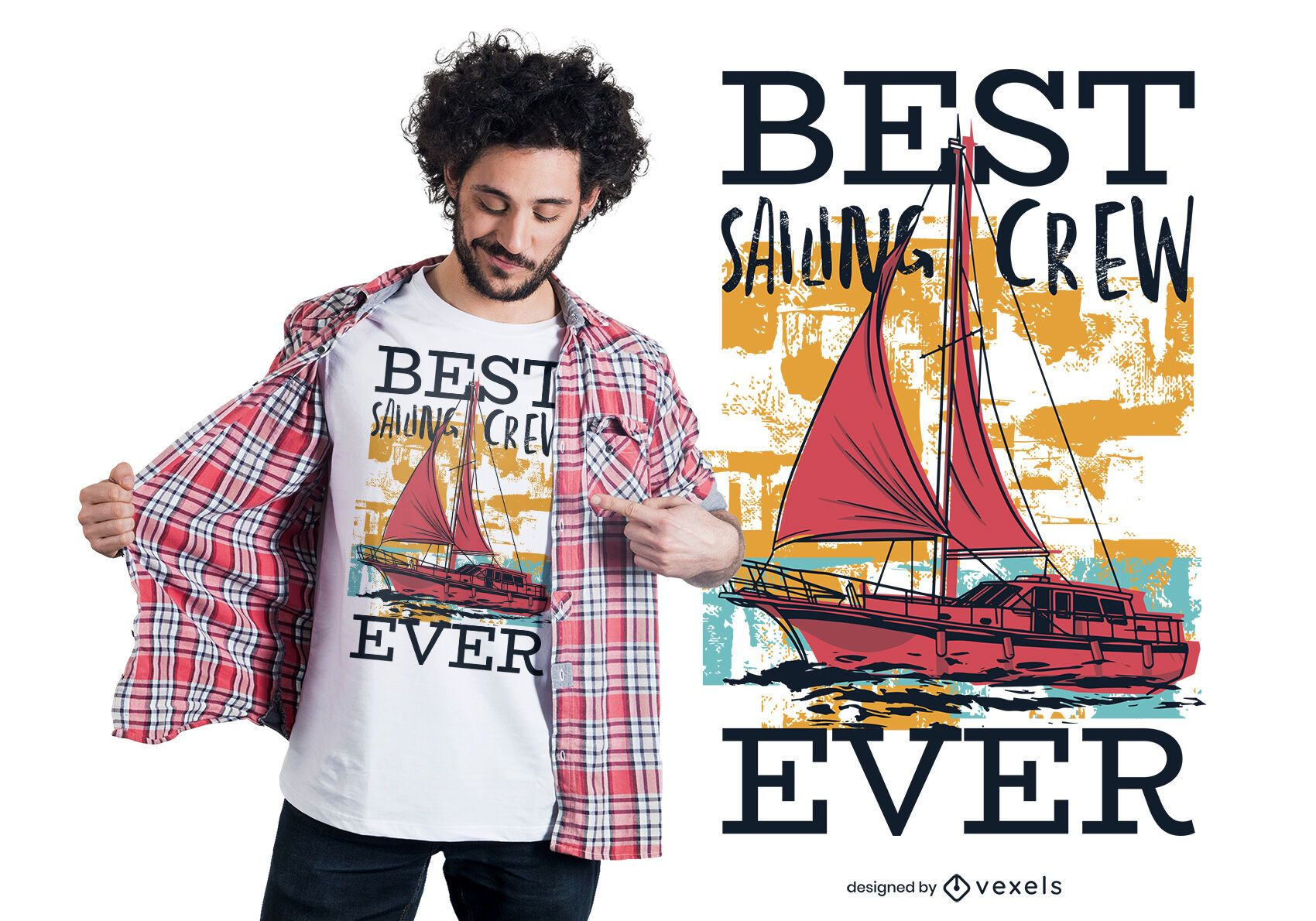 Melhor Design de Camiseta para Tripulação de Vela