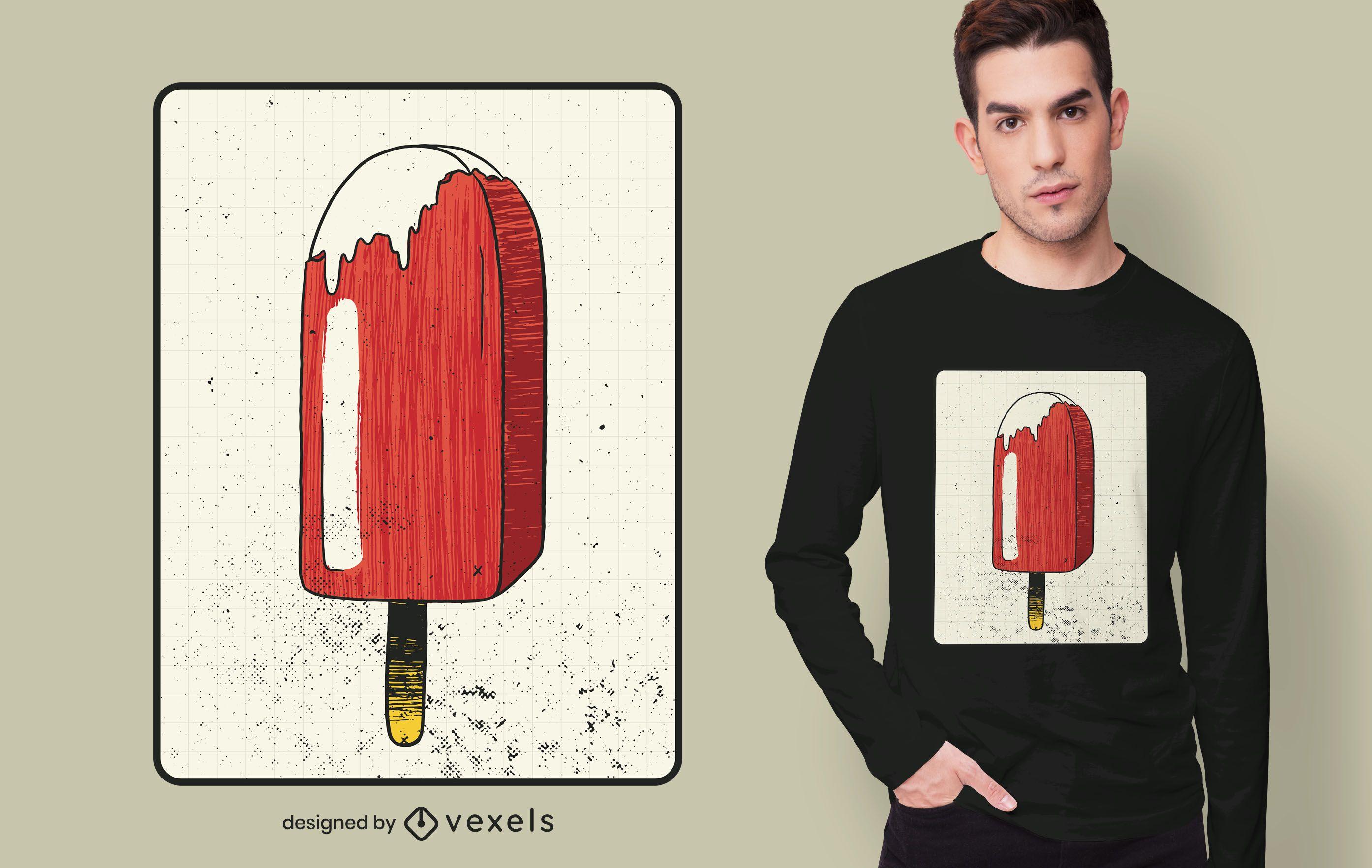 Erdbeer Eis am Stiel T-Shirt Design