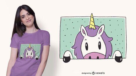 Diseño de camiseta de ventana de unicornio