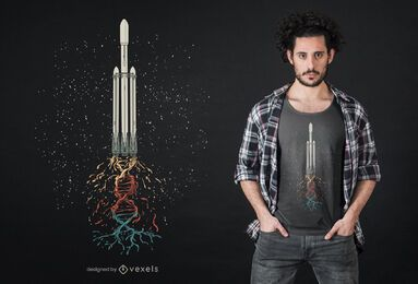 Design de t-shirt de DNA de foguete espacial
