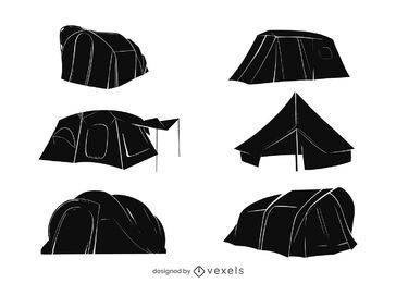 Pacote de silhueta para barracas de acampamento