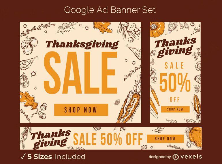Conjunto de banner publicitario de venta de acción de gracias