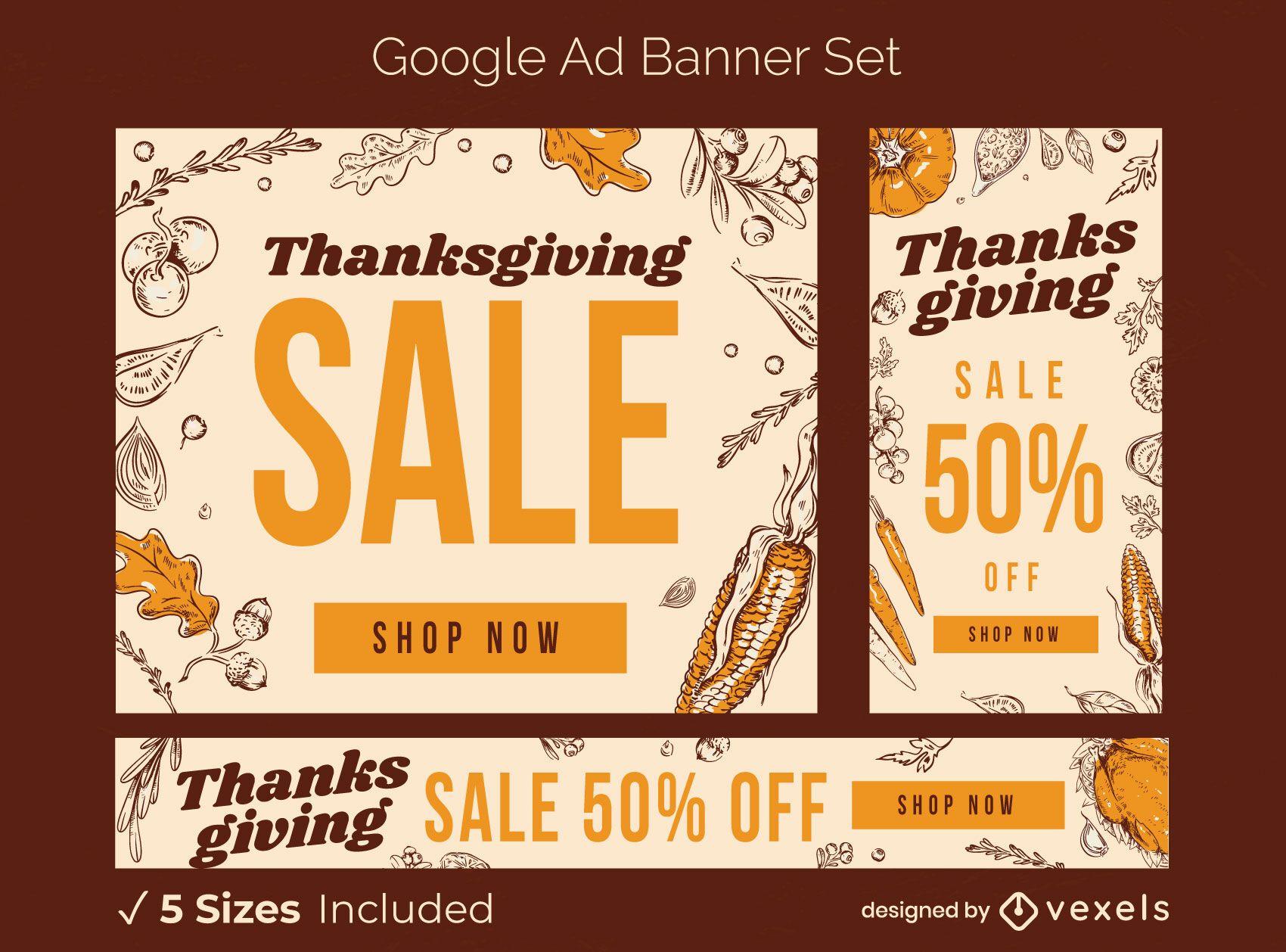 Conjunto de banner de anuncio de venta de acción de gracias