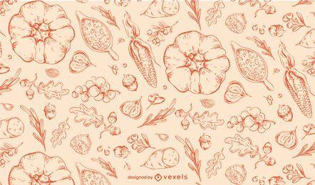 Erntedankhand gezeichnetes Muster