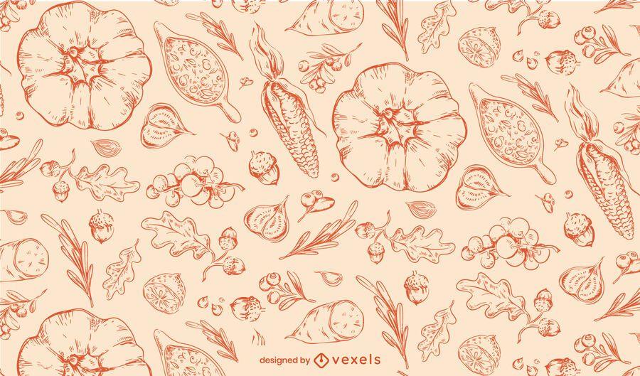 Erntedank-Hand gezeichnetes Muster