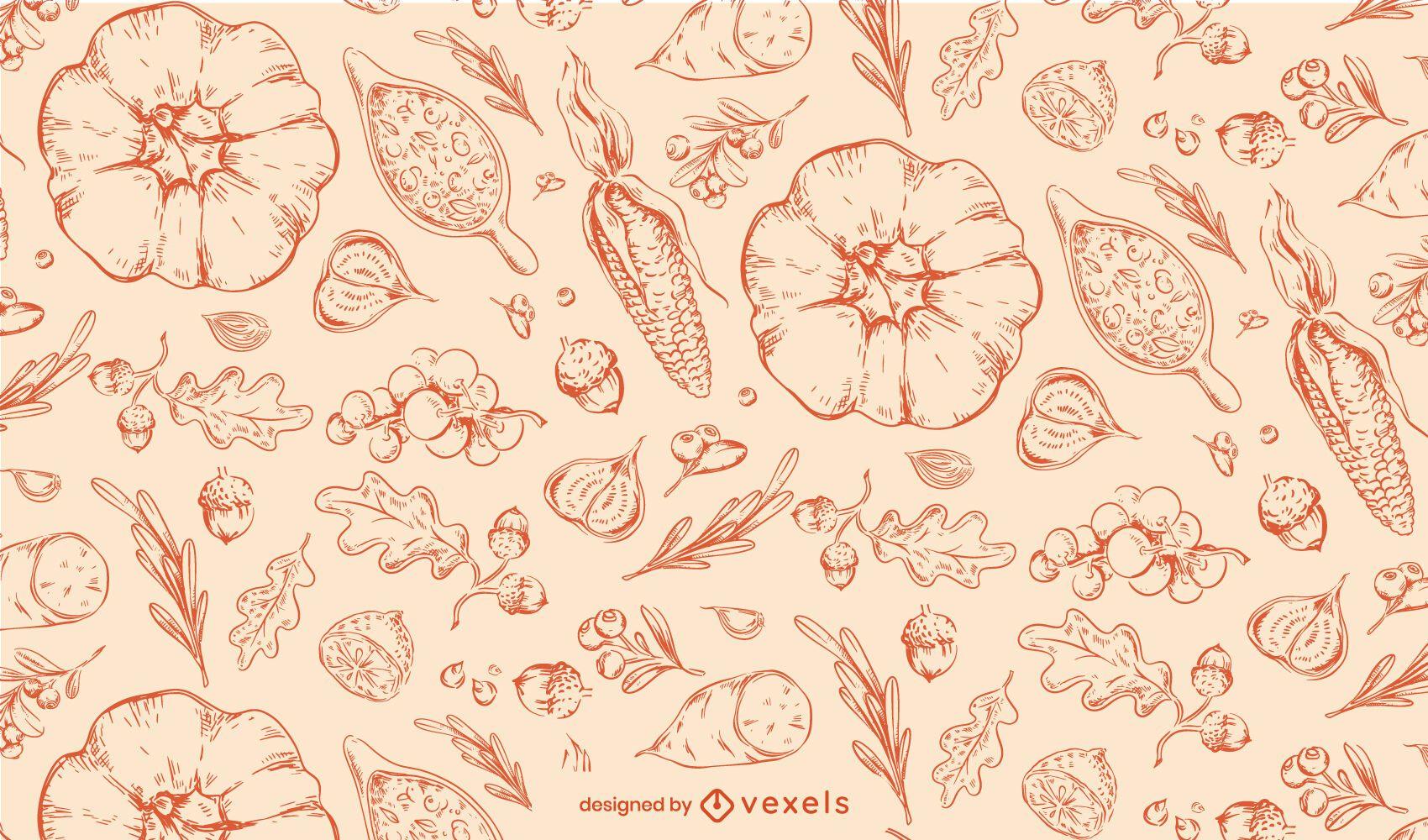 Thanksgiving hand drawn pattern