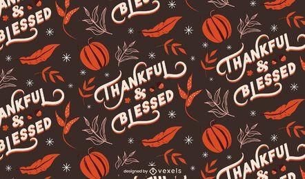 Padrão de ação de graças abençoada grato