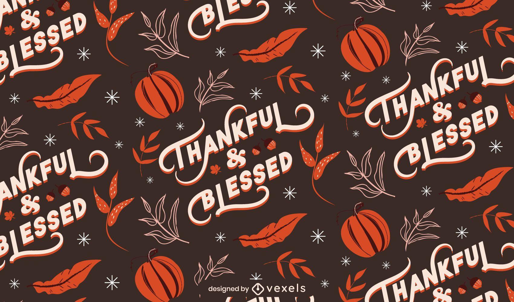 Patrón de acción de gracias bendecida agradecida