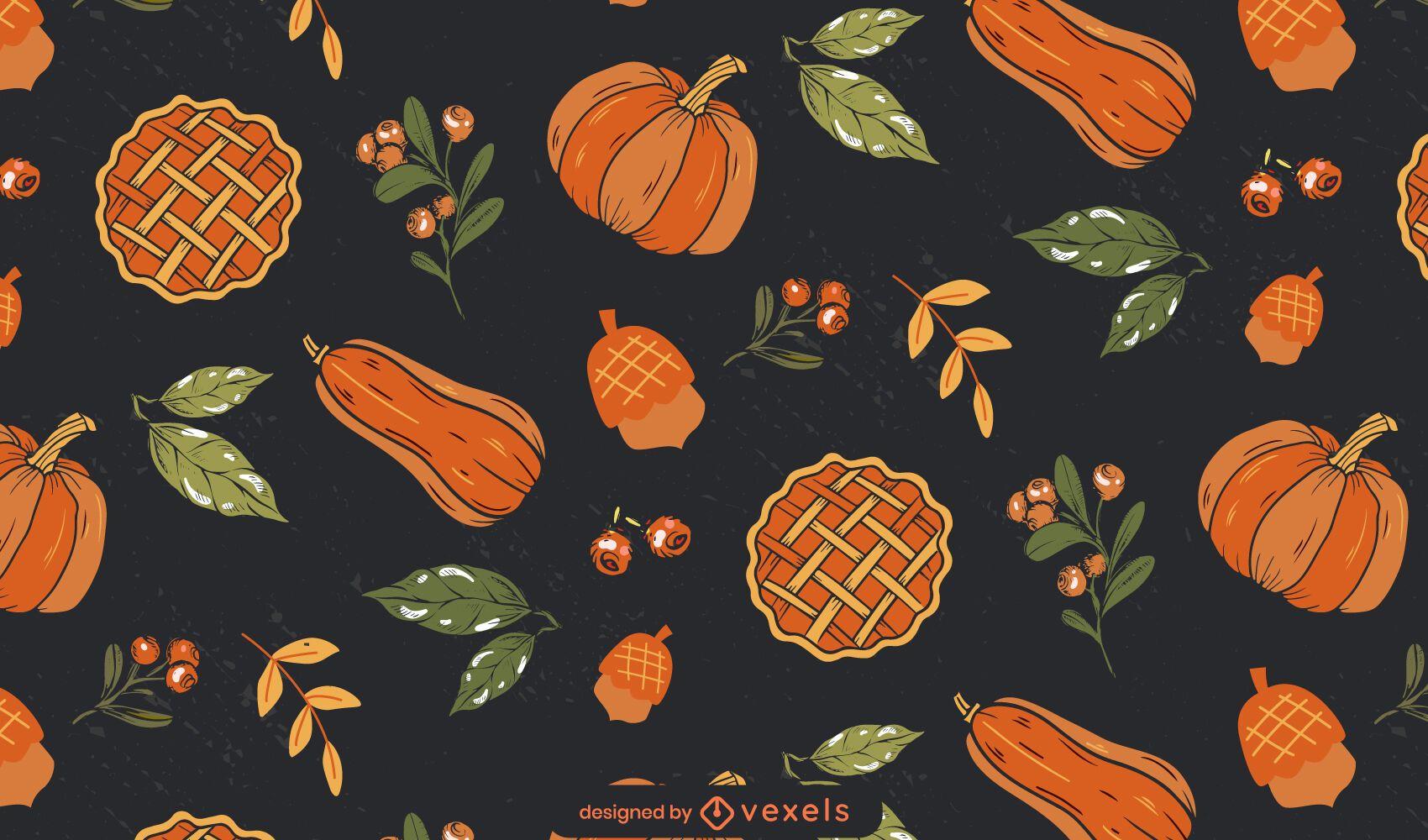 Diseño de patrón de comida de acción de gracias