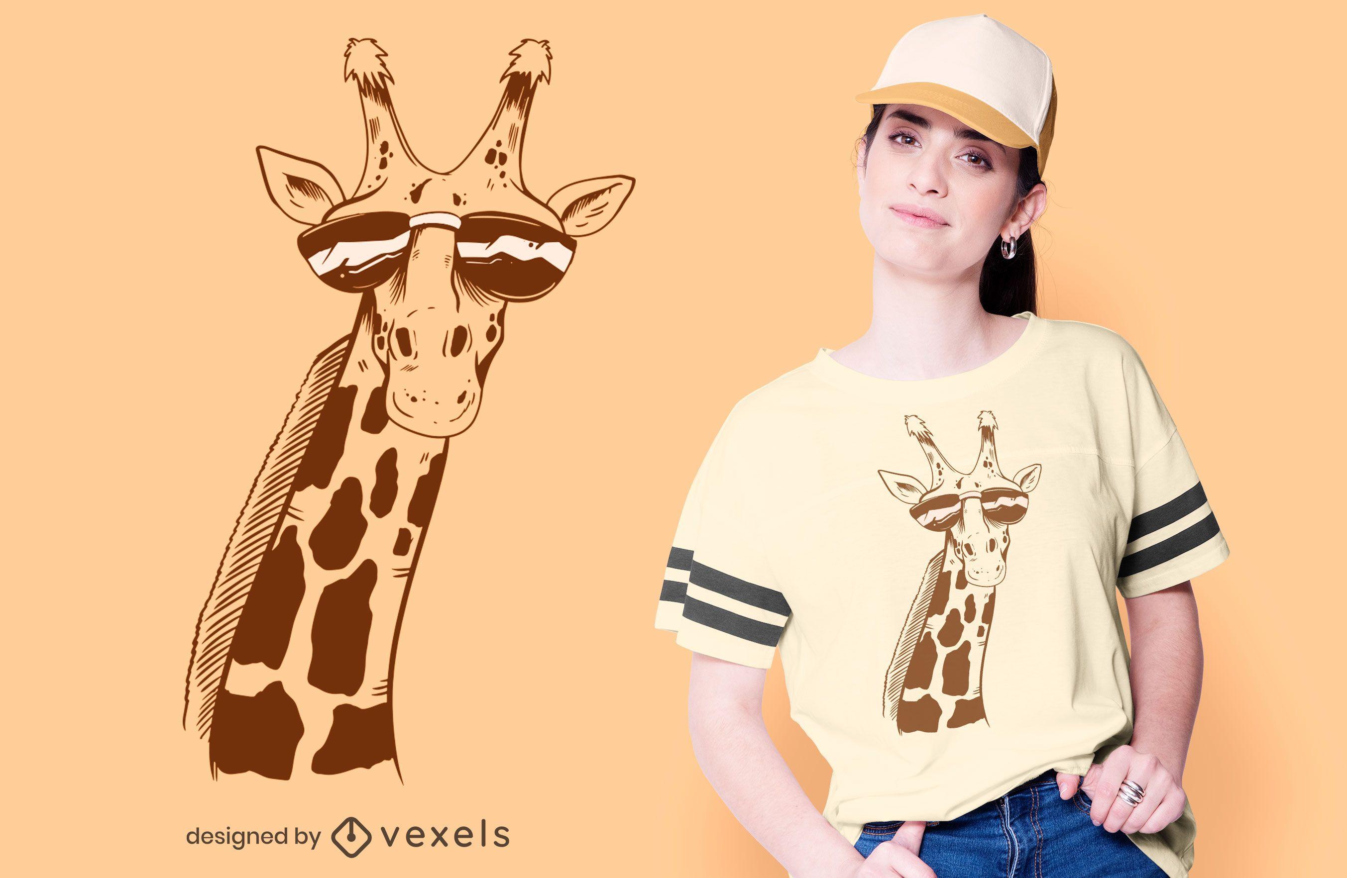 Girafa com design de camiseta de óculos de sol
