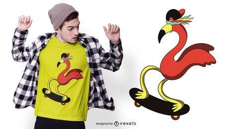 Diseño de camiseta skater flamingo