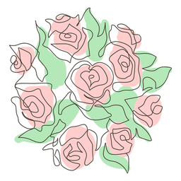 Abundant rose bouquet stroke