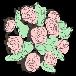 Abundante pincelada de buquê de rosas