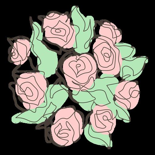 Abundant rose bouquet stroke Transparent PNG