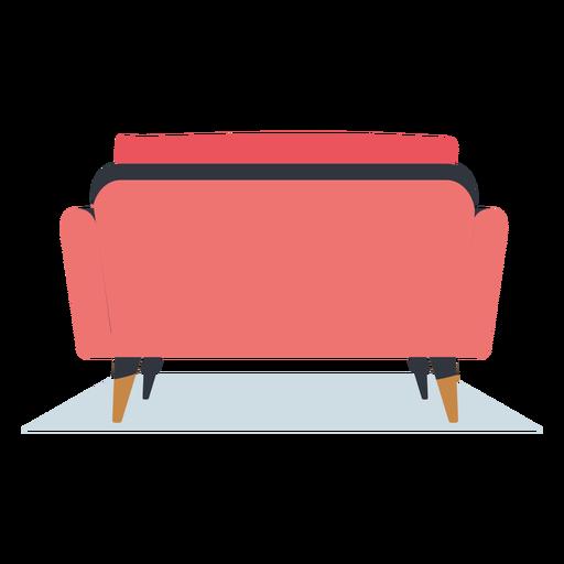 Vista traseira da mobília plana do sofá