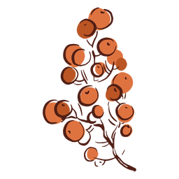 Rama dibujada a mano colorido árbol de baya