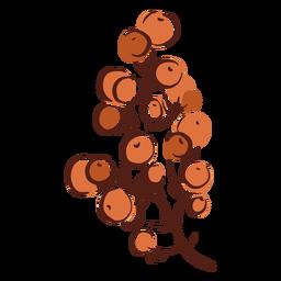 Ramo desenhado de mão colorido árvore Berry