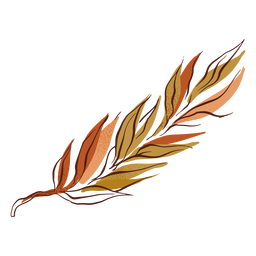 Bicolor autumn leaf design hand drawn