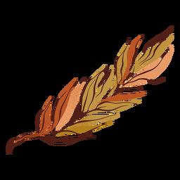 Mão de design de folha de outono bicolor desenhada