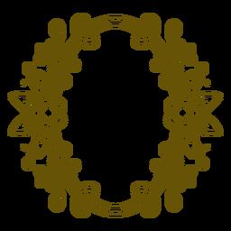 Botanic oval frame flowered stroke