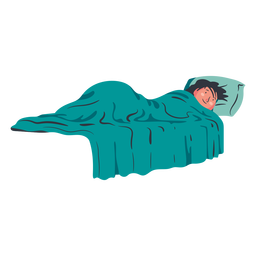 Boy character lying on bed flat