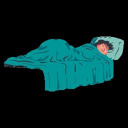 Personagem de menino deitado na cama plana