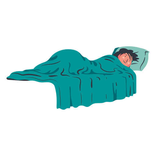 Boy character lying on bed flat Transparent PNG