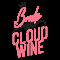 Novia en cita de vino en la nube