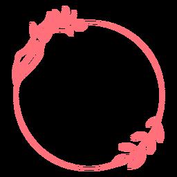 Vinil circular com moldura floral